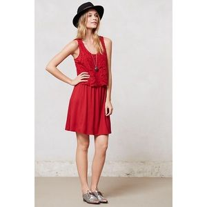 Anthro Lilka Geranium Crochet Red Lace Dress L